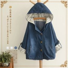 Japanese ethnic jeans blue denim sequin cowboy vintage loose lace patchwork chaqueta harajuku fall boho women autumn jacket coat