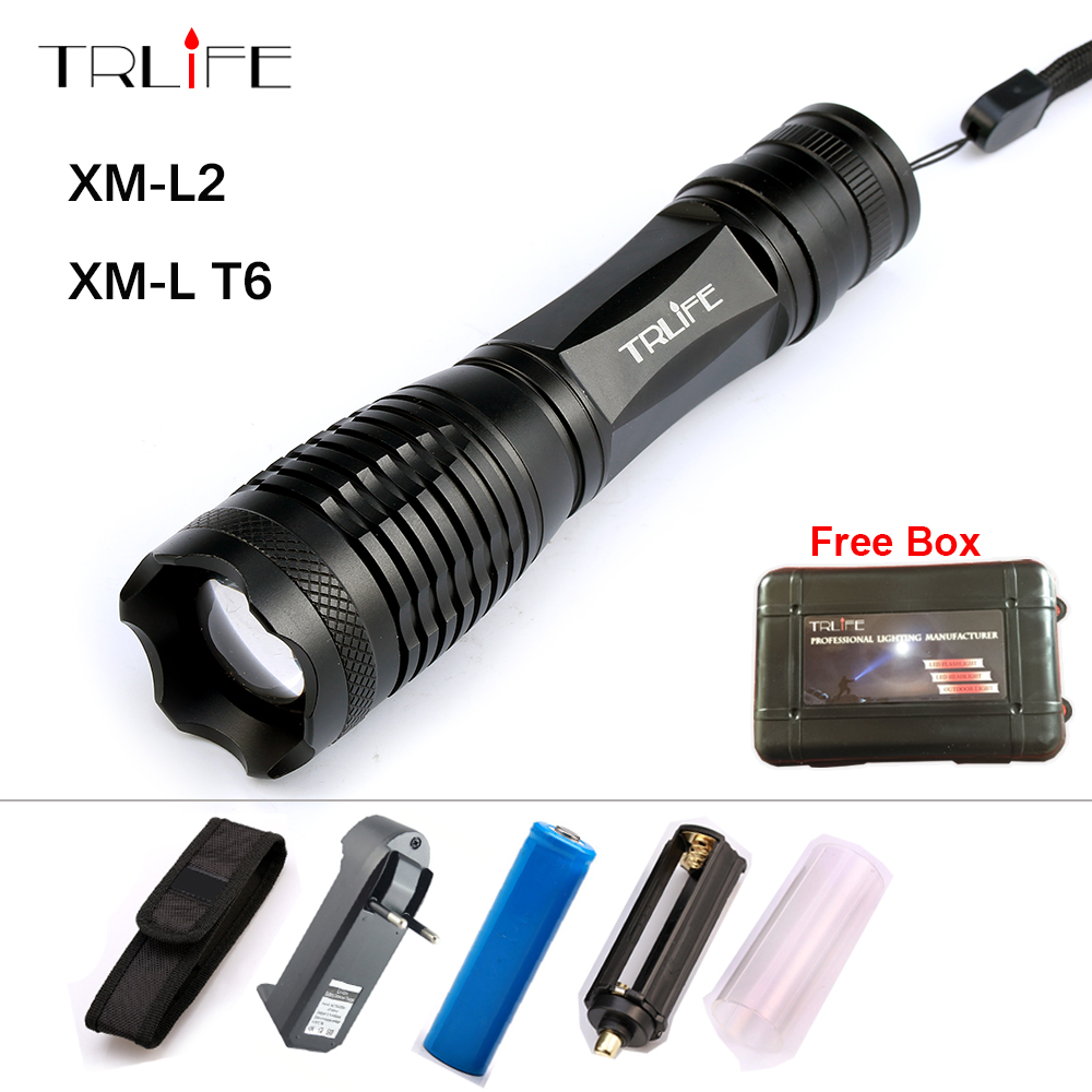 8000 Lm Flashlight Zoomable/Adjustable Lamp LED CREE XM-L T6 L2 Tactical Camping Light Lanterna +18650 Battery+ Charger FREE GIF rechargeable 2000lm tactical cree xm l t6 led flashlight 5 modes 2 18650 battery dc car charger power adapter