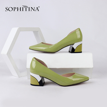 Купить с кэшбэком SOPHITINA Comfortable Square Heel Pumps Sexy Pointed Toe High Quality Genuine Leather Design Shoes Special Women's Pumps SC163