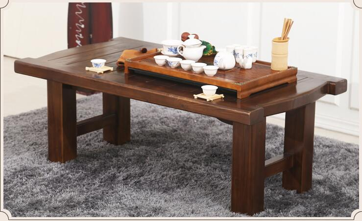 Foldable Legs Japanese Antique Low Table Rectangle 115cm Asian Furniture Traditional Living Room Solid Wood Table For Dinning