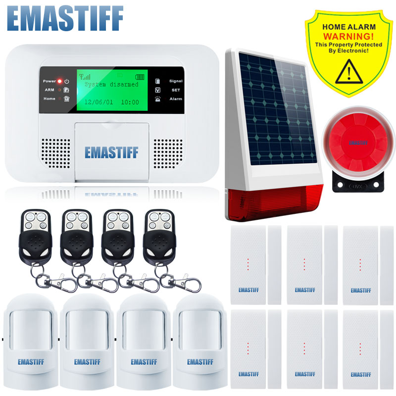 Free Shipping!NEW Wireless GSM SMS Alarm System PIR Home security Alarm system with Keyboard Solar Powered Flashing Strobe Siren fuers wifi gsm sms home alarm system security alarm new wireless pet friendly pir motion detector waterproof strobe siren