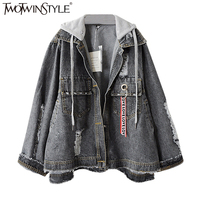 TWOTWINSTYLE Bomber Denim Jackets Hoody Jeans Ripped Coat Female Jacket Long Sleeve Hoodies Top Cardigan Casual