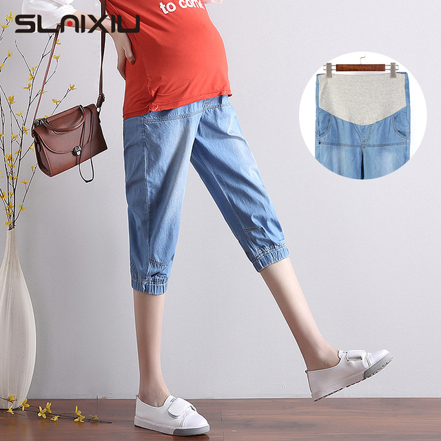 Summer pregnant women's cropped jeans leisure sports Loose shorts trousers high waist harem pants maternity pockets S-5XL