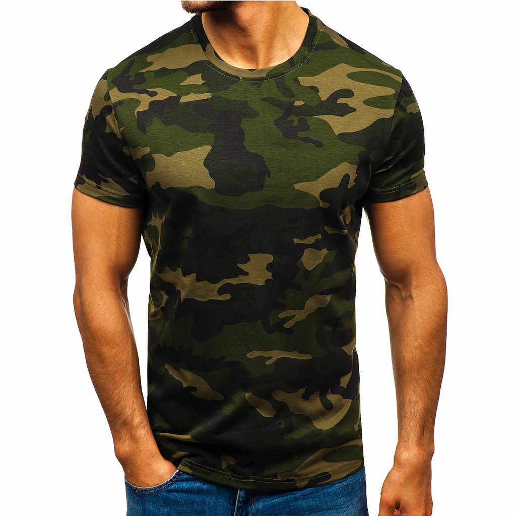 Gratis Burung Unta Pria T-shirt Pola Kamuflase Fashion Lengan Pendek T Shirt Untuk Kebugaran Pria Tshirt Pakaian Olah Raga Top Tees baru