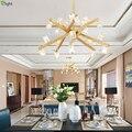 Современные Блестящие Хрустальные светодиодные подвесные светильники для гостиной  медные металлические светодиодные подвесные лампы дл...