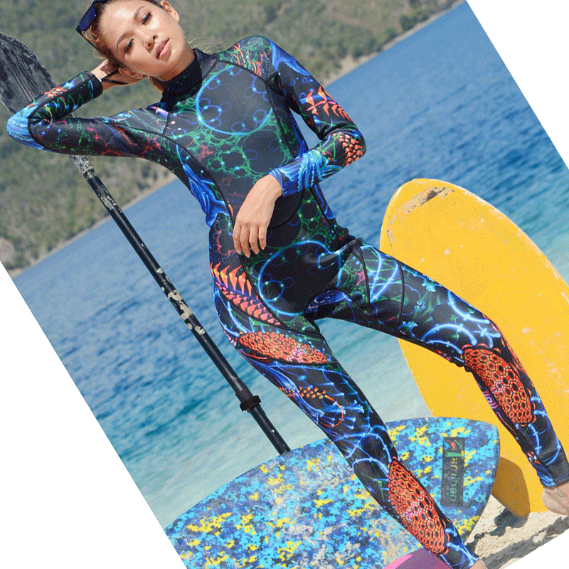 Women 3mm thickness long-sleeved wetsuit with thick warm swimming one piece surfing jellyfish coat close-fitting diving suit