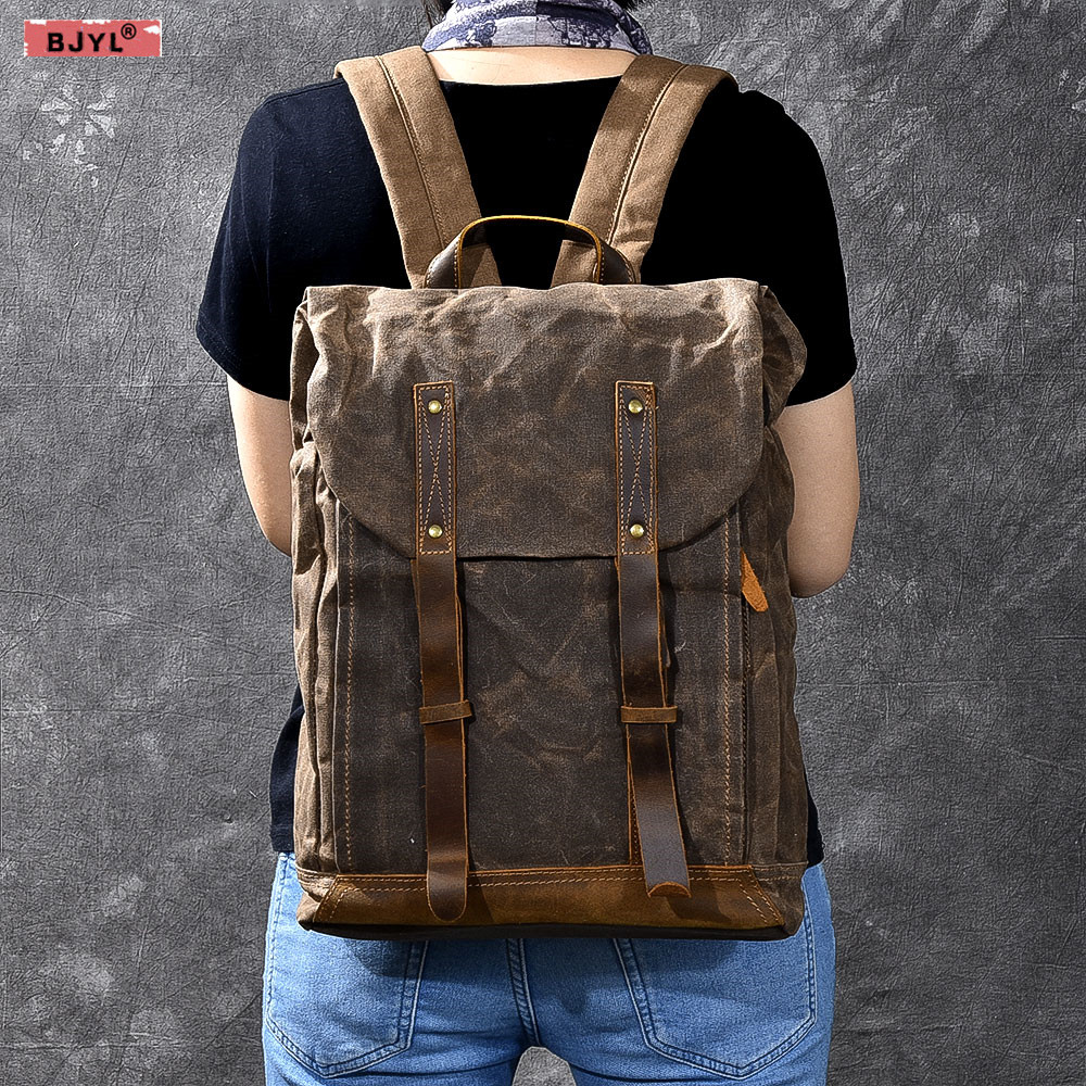 BJYL Men Backpacks Oil Wax Canvas Men shoulder bag Retro Distressed Backpack Waterproof Travel Men's Computer 15 inch laptop Bag