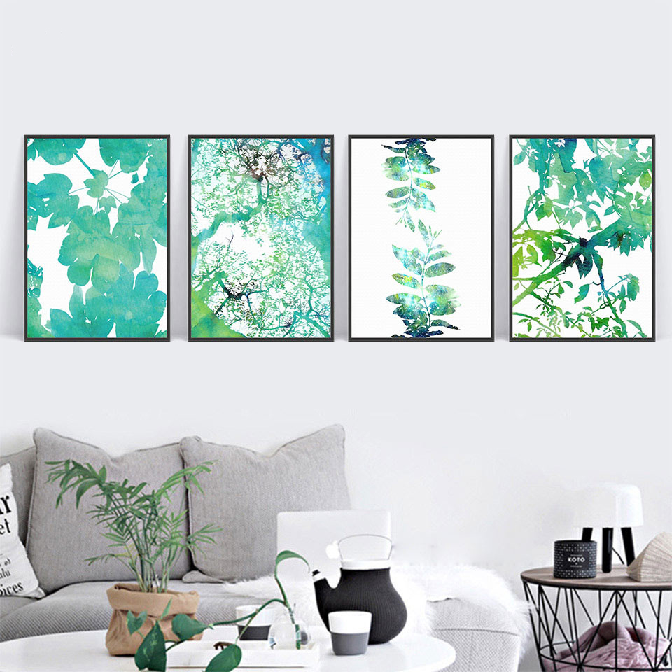 Green Tree Leaves Wall Pictures Modern Canvas Hd Art Print Nordic Poster Abstract Geometric Painting Living Room Home Decoration