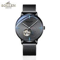 2018 ステンレススチールウォッチメッシュベルト腕時計自動機械式時計メンズ腕時計トップブランドの高級オリジナルトゥールビヨン中空運動 -