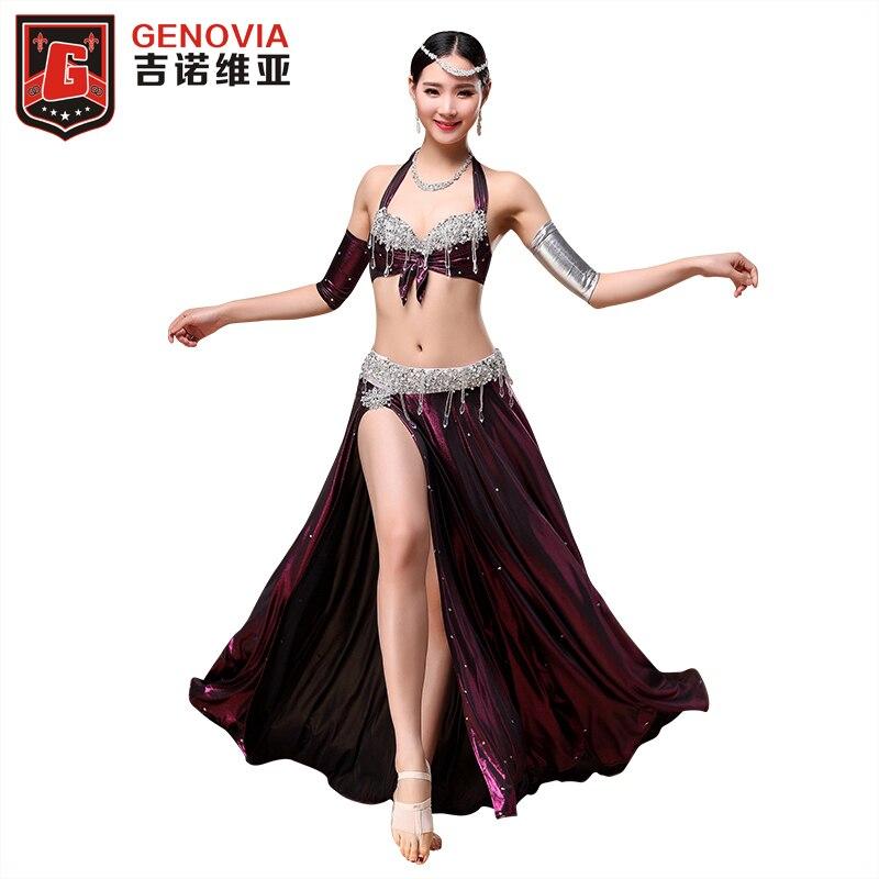 2018 Performance professionnelle Costume de danse du ventre tenue 3 pièces soutien-gorge et jupe et bras manches 32b/c 34b/c 38b/c 2 couleur
