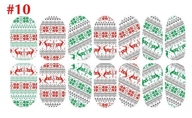 10 unids/lote Aall Pegatinas Luminosas Pegatinas de Uñas Patrón de Copo de Nieve de Papá Noel y de Navidad DIY Calcomanías de Uñas de Manicura