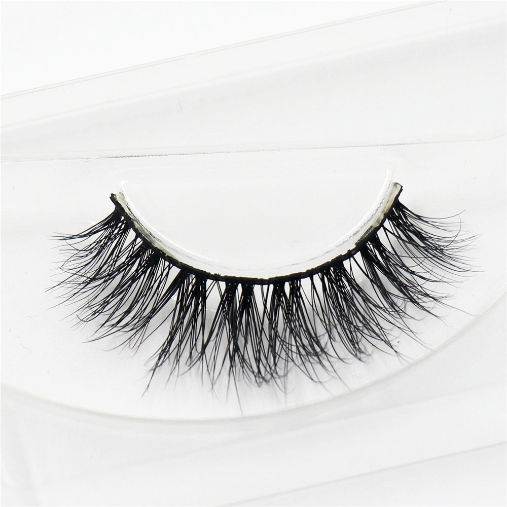 1 Par 100% Real Mink 3D cross False Eye Lashes Extensión Maquillaje Super Natural Moda Larga Pro suave Falso Falso Pestañas A10