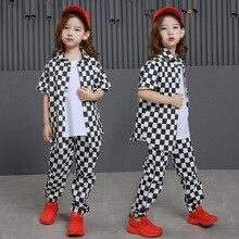 Conjuntos de niños HipHop Camisa de algodón a cuadros ropa de niñas Jazz  traje para niña Top sudadera pantalones niños baile Str.. d032a840fb7