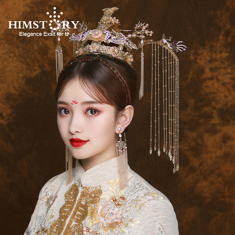HIMSTORY Gorgeous Handmade Vintage Chinese Bridal Wedding Crown headdress Purple Crystal Long Tassel Gold Bride Hair Jewelry HIMSTORY Gorgeous Handmade Vintage Chinese Bridal Wedding Crown headdress Purple Crystal Long Tassel Gold Bride Hair Jewelry
