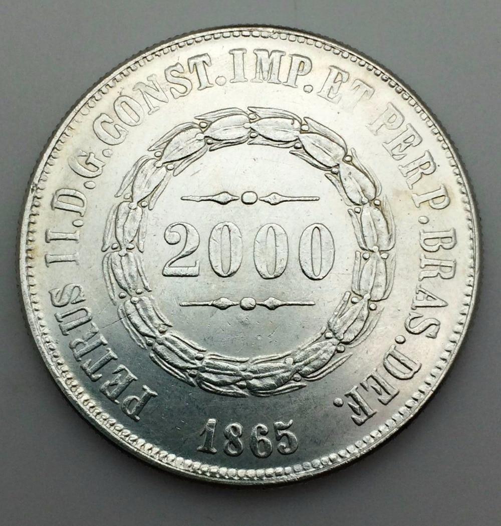БРАЗИЛИЯ 2000 Reis Pedro II 1865 латунь покрытая серебром КОПИЯ монета Поддержка оптовая продажа могут получил пользовательский