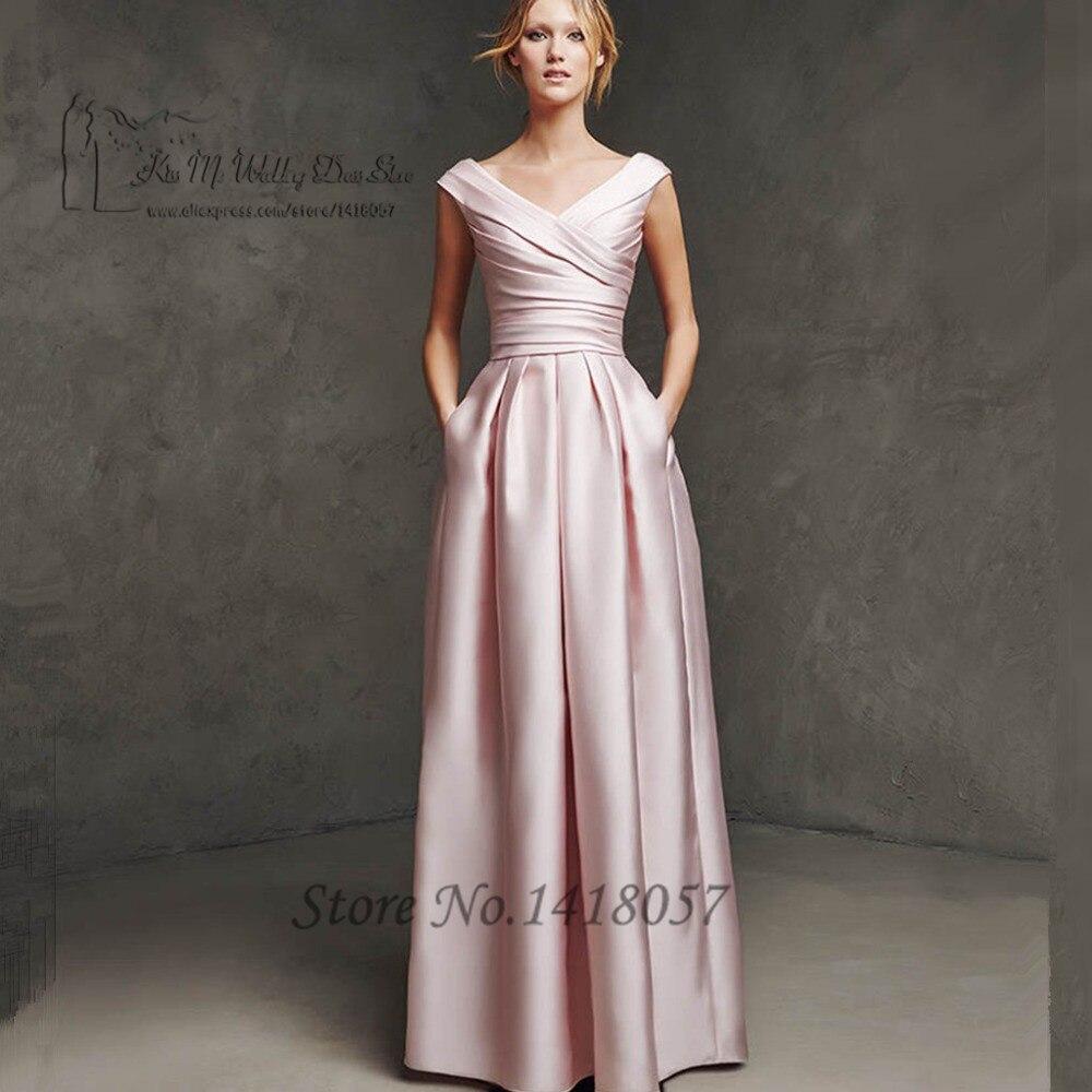 Robe de soirée Courte élégante longue rose Robe de soirée Satin 2016 robes de bal Abendkleider Vestidos de Noche formelle femmes Robe
