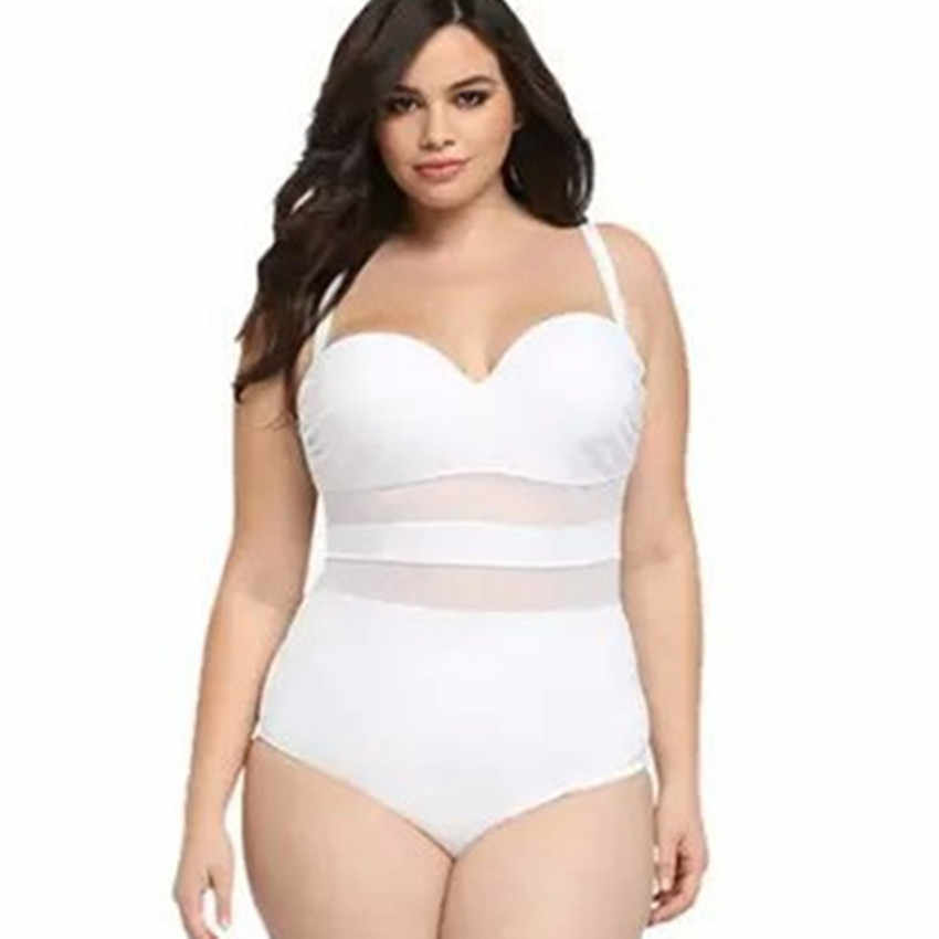 5b005e9a8da6 Fatkini 2016 traje de baño de malla de talla grande para mujer Push Up de  una pieza traje de baño de cintura alta traje de baño de cuerpo completo de  ...