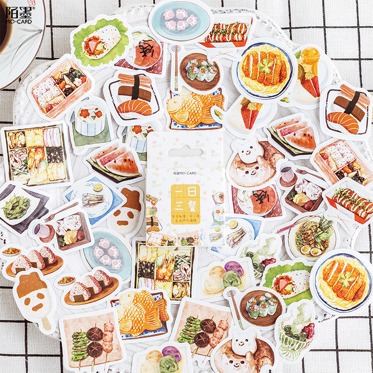 45pcs/pack Yummy Foreign Food Decorative Stationery Stickers Scrapbooking DIY Diary Album Stick Label