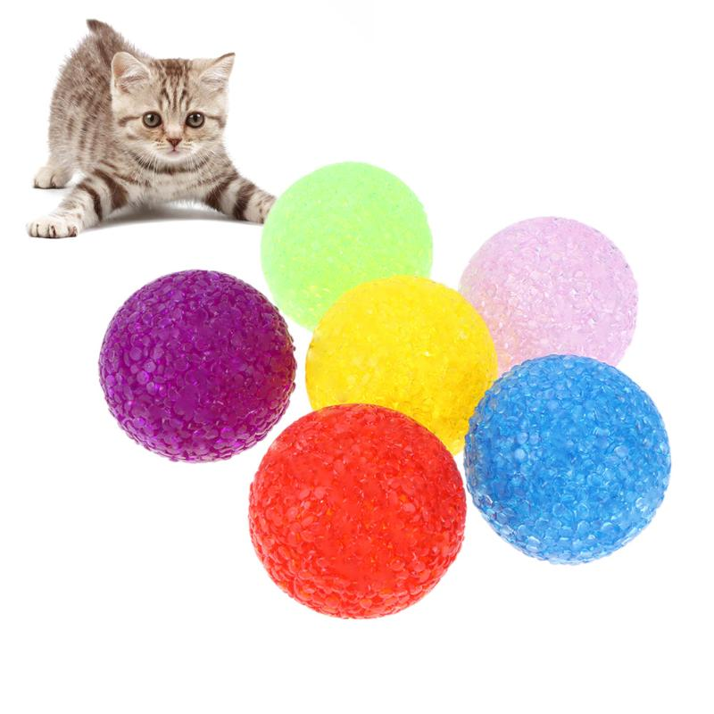 6pcs lot Particle Plastic Balls Interactive Cat Toys Colorful Cat Playing Toy with Bell Chewing Ball
