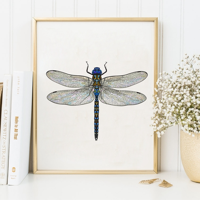 Beautiful Dragonfly Art Print Poster Wall Pictures Home Decor