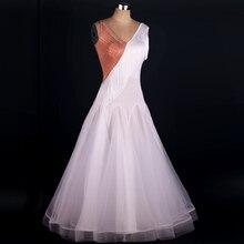 Ballroom Waltz Competition Dancing Skirt 2016 New Design Tassel Sleeveless Red Modren Dance Dresses