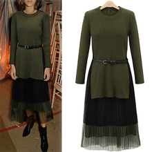 2017 New Spring Long Sleeve Pullovers Irregular Knitting Dress With Belt + Camis Mesh Dresses Women Two Pieces Women Clothing