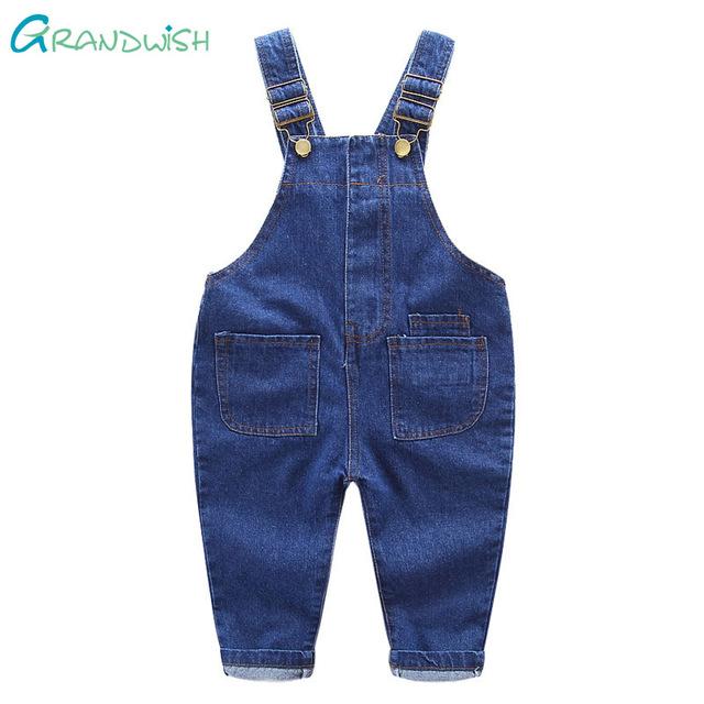 Grandwish novos meninos e meninas denim macacões macacão jeans crianças calças casuais crianças calças jeans calças de lavagem 18 m-6 t, SC149