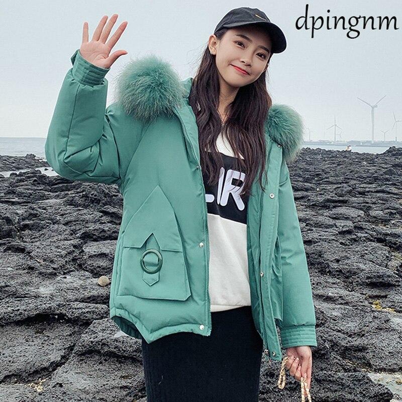 2019 Women Winter Short Jacket Mujer Hooded   Parkas   Winter Coat Women Loose   Parka   Fur Collar Cotton Padded Jackets