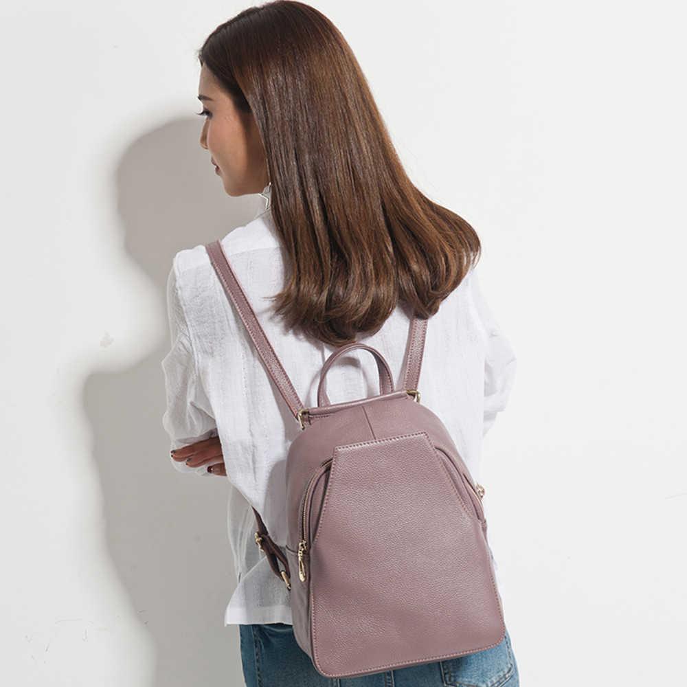Zency очаровательный женский рюкзак 100% натуральная кожа Противоугонная Кнопка элегантные женские дорожные сумки школьный для девочки праздничный ранец