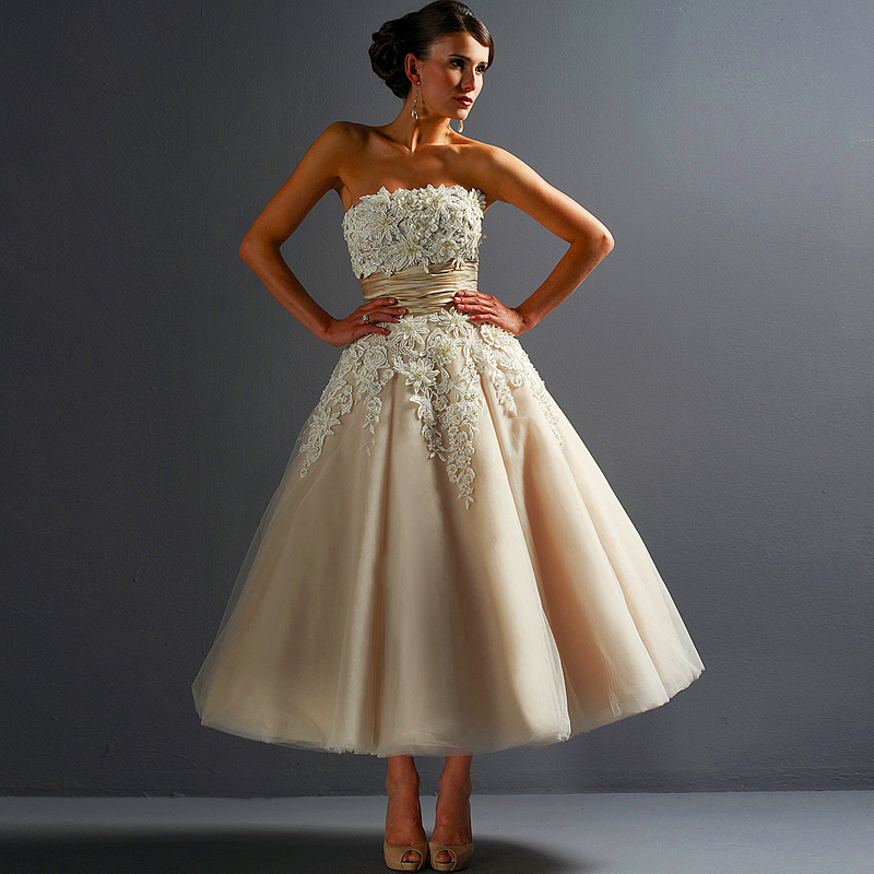 Wedding Gown Bra: Women 2016 Vintage Strapless Puffy Ball Gown Dress For