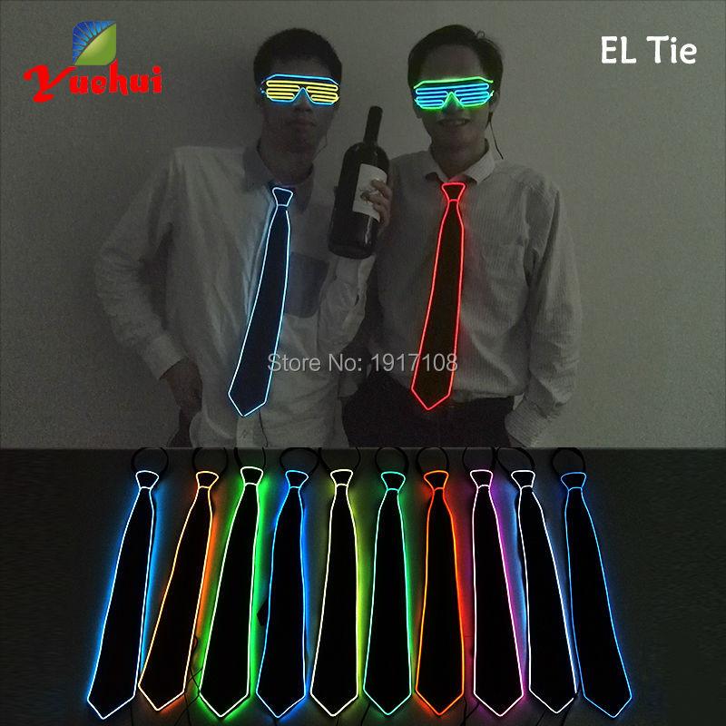 Uusi muotoilu10 väriä Trendikäs valaistus LED keulapussi hehkuva neonvalo keulaketju Häätlahja miehille Iltajuhliin