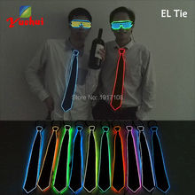 2016 New Design Light Lemon green Color Flashing Up LED Bow Tie glowing EL wire For Evening Party,DJ,bar,club