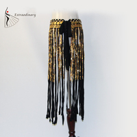 Tribale danza Frangia Lunga Hip Scarf Belly Dance Coin Belt