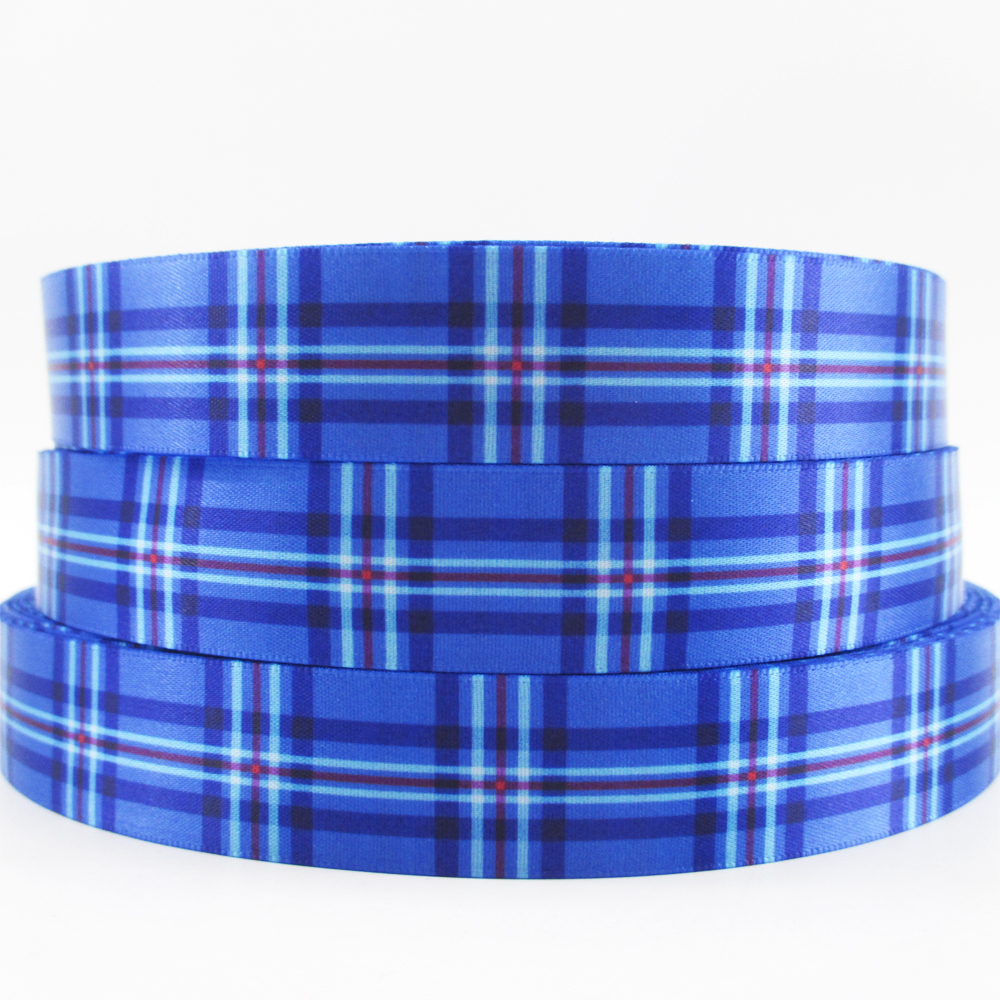7 8 22mm font b tartan b font plaid high quality printed polyester ribbon 50 yards