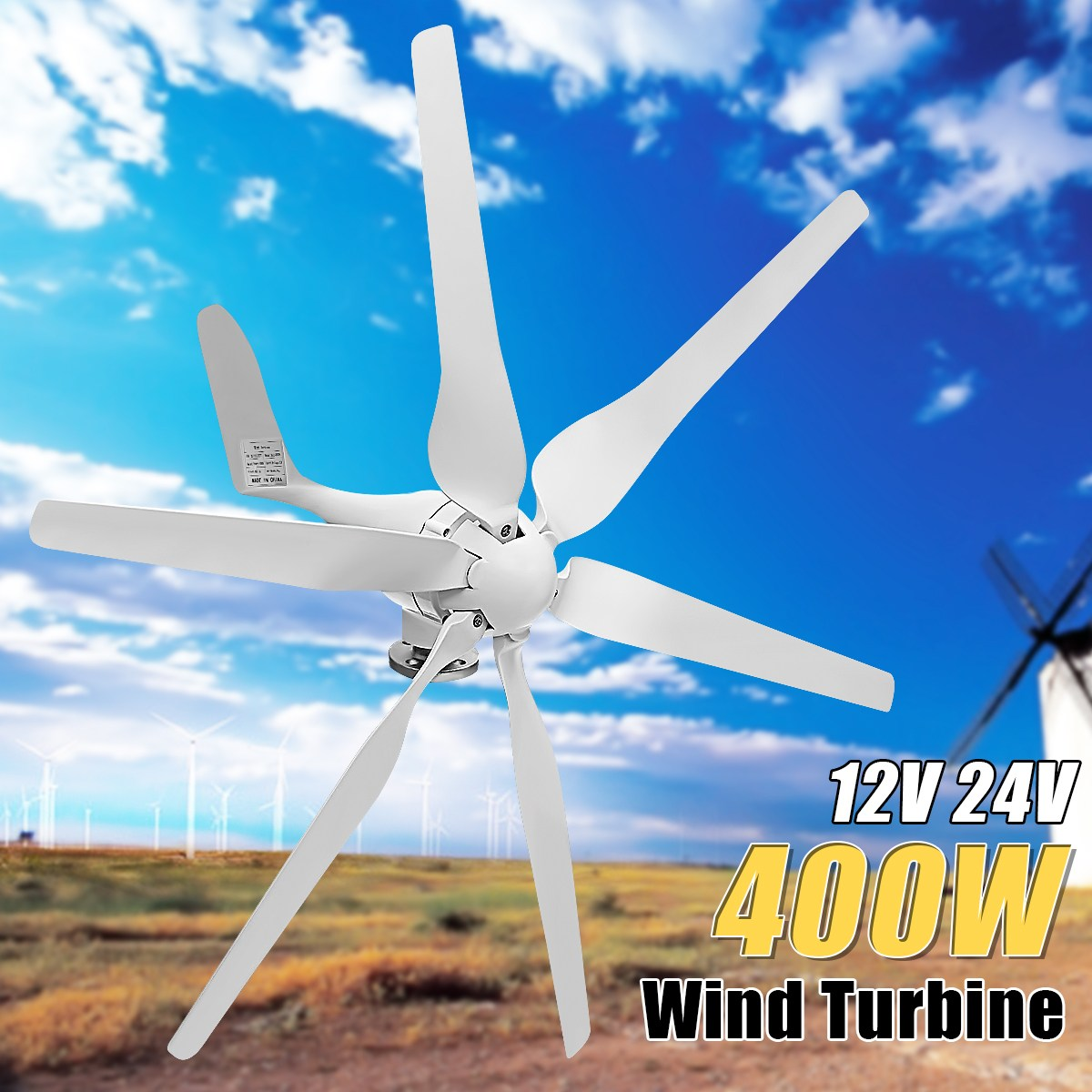 Big Promotion 400W Wind Generator DC 12V/24V 6 Fiber Blades Wind Turbines Generator Auto Adjust Wind Power Home Generator Kit maylar 12v 24v auto wind
