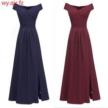 CD1682#Slim dark blue Boat Neck Bridesmaid Dresses Long  bur