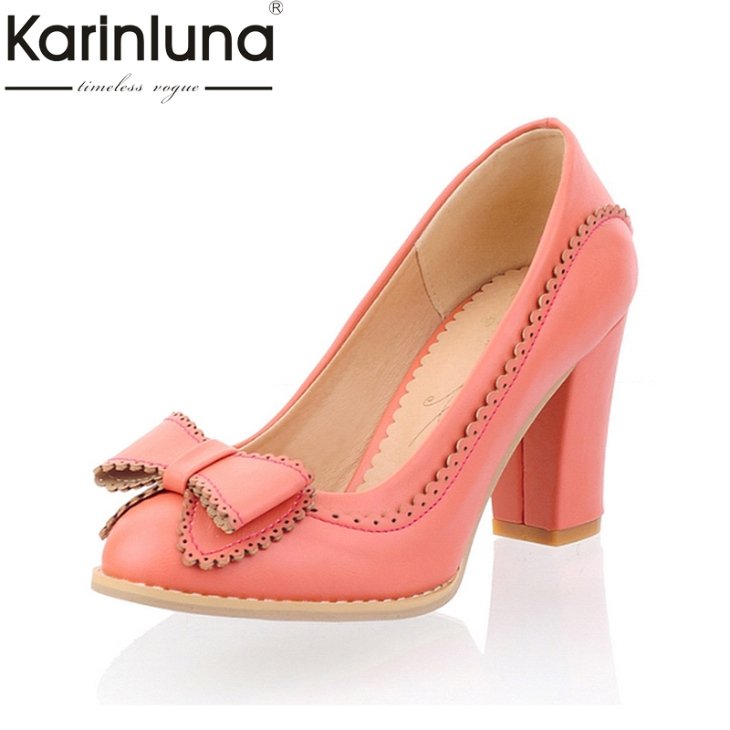 цена на Karinluna Big Size 34-43 Women Pumps Sweet Bowtie Shoes Vintage Chunky High Heels Party Wedding Prom Footwear