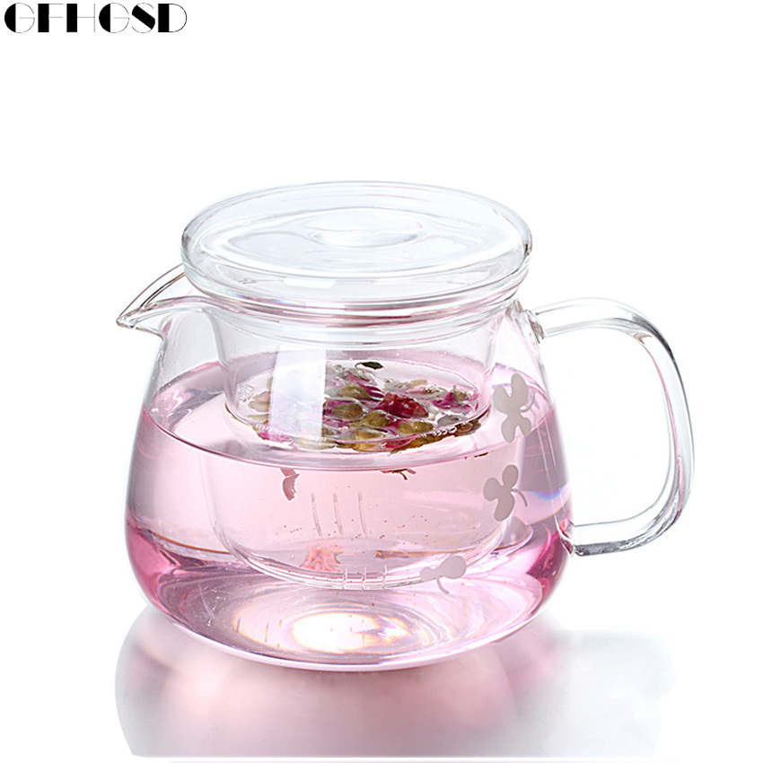 GFHGSD New Arrival 500ML Heat Resistant Hyaline <font><b>Glass</b></font> Teapot Coffee Tea Set Office Flower Tea Pot With Filter Tea Sets