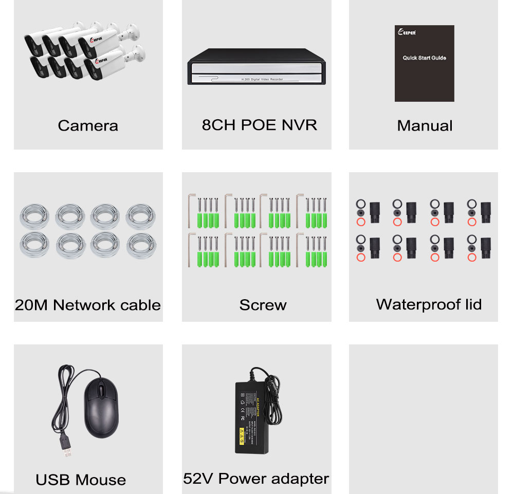 Keeper H.265 8CH 5MP POE NVR System With 8pcs 5MP Onvif POE IP security CCTV Camera with audio speaker cctv camera kitKeeper H.265 8CH 5MP POE NVR System With 8pcs 5MP Onvif POE IP security CCTV Camera with audio speaker cctv camera kit