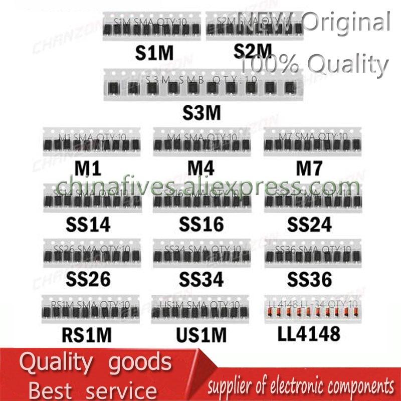 Набор диодов Шоттки для быстрого переключения SMD (M1 M4 M7 S1M S2M S3M SS14 SS16 SS24 SS26 SS34 SS36 RS1M US1M LL4148)