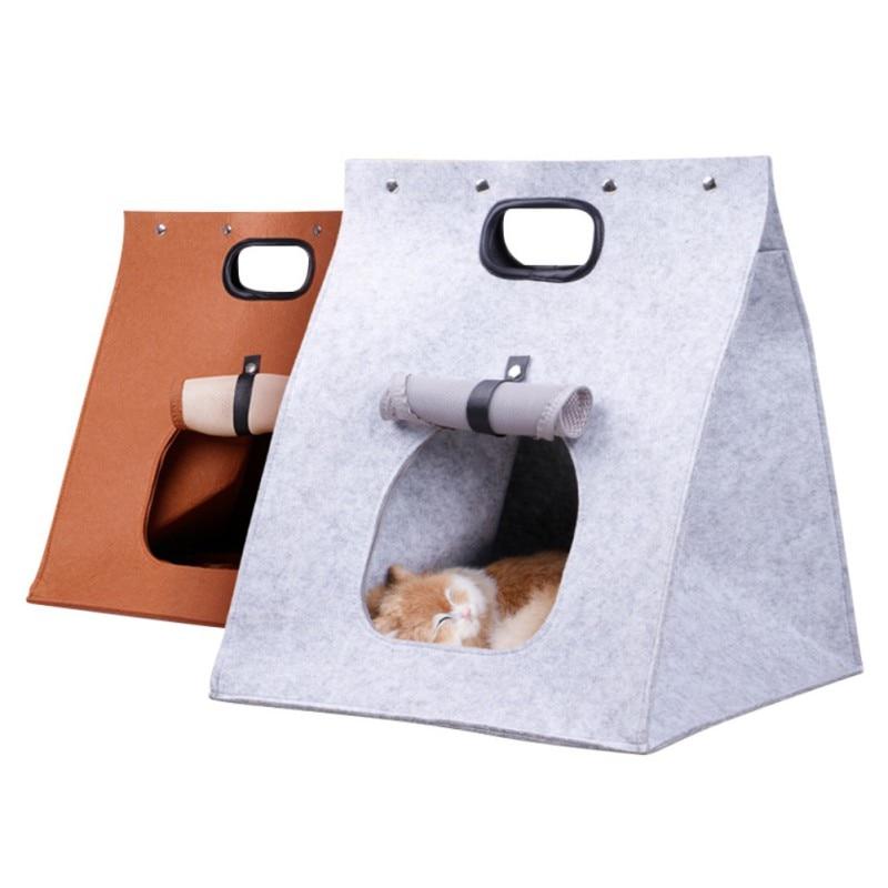 Hot Sale Pet Sleeping Bag Pet Carrier Handbag Dog Supplies Felt Cat Dog House Travel Foldable Portable Deformable