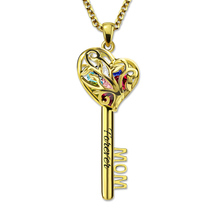 Wholesale MOM Heart Cage Key Pendant Necklace with Birthstones Customized Engraved Family Tree Necklace for Mother Gold Color