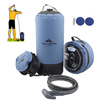 11L PVC Pressure Shower with Foot Pump Lightweight Outdoor Inflatable Pressure Shower Water Bag For Camping Hiking Bath