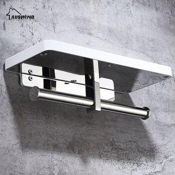 Toilettenpapierhalter | Moderne Stil Silber Doppel Wc Papier Handtuch Rack Wand Montiert Mit Handy Stehen Rack Bad Rollen Halter Wc Sj2