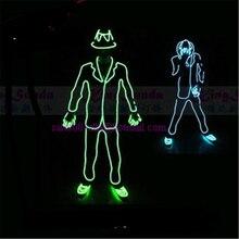 Großhandel Preis LED Leuchtende blinkende elwire Roboter Anzug Kostüm mit Kappe, Handschuhe und Schuhe mj Stil Kleidung Tanz tragen