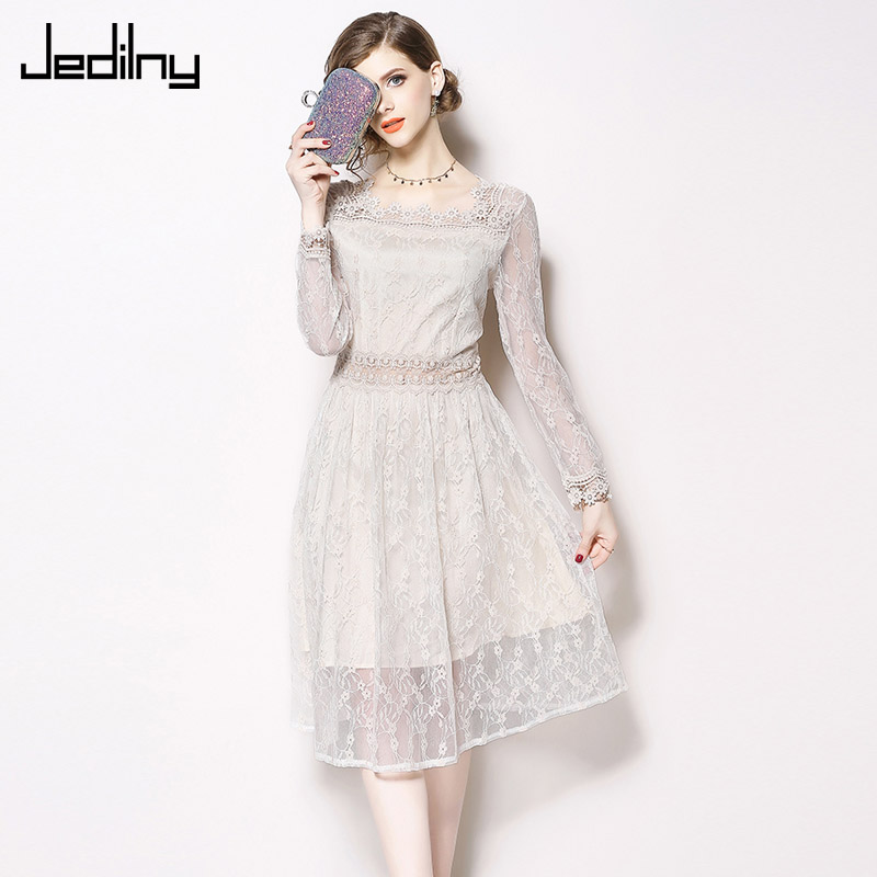 Lace Dress 2019 Spring New Solid Color Long Sleeve Lace
