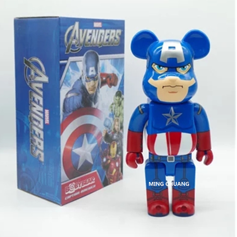 Be@rbrick 400% Bearbrick Avengers Infinity War Superhero Captain America Gloomy BB PVC Action Figure Collectible Model Toy D213 цена