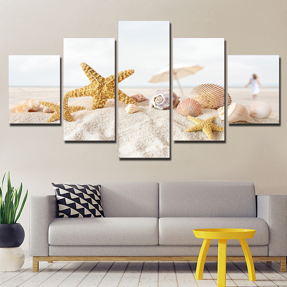 canvas pictures wall art framework home decor 5 pieces beach sand shells paintings living room. Black Bedroom Furniture Sets. Home Design Ideas