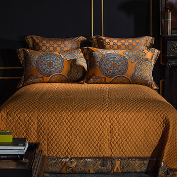 Luxury Bedding set Queen King size Golden Silver Satin Cotton Bed set Doona Duvet cover Bed sheet set juego de cama linge de lit 3