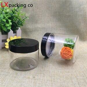 Image 3 - 30 adet ücretsiz kargo 50 100 150 180 200 250 ml krem şeker plastik ambalaj şişe siyah kapaklı kavanoz hap baharat konteyneri banka